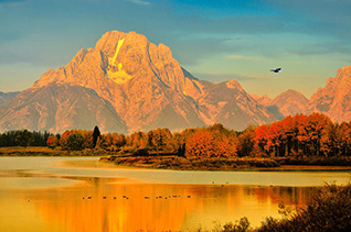 Oxbow Bend dawn in Grand Teton National Park