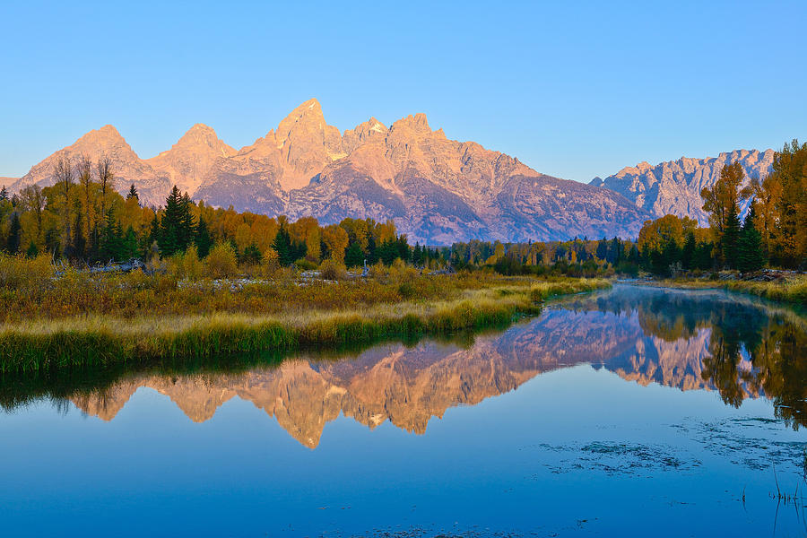 First Light at Schwabacher Landing in the Tetons