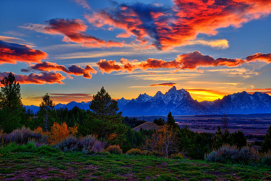 Colorful sunset in Grand Teton National Park