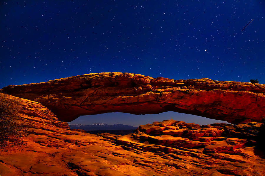 Mesa Arch Night Sky with Shooting Star