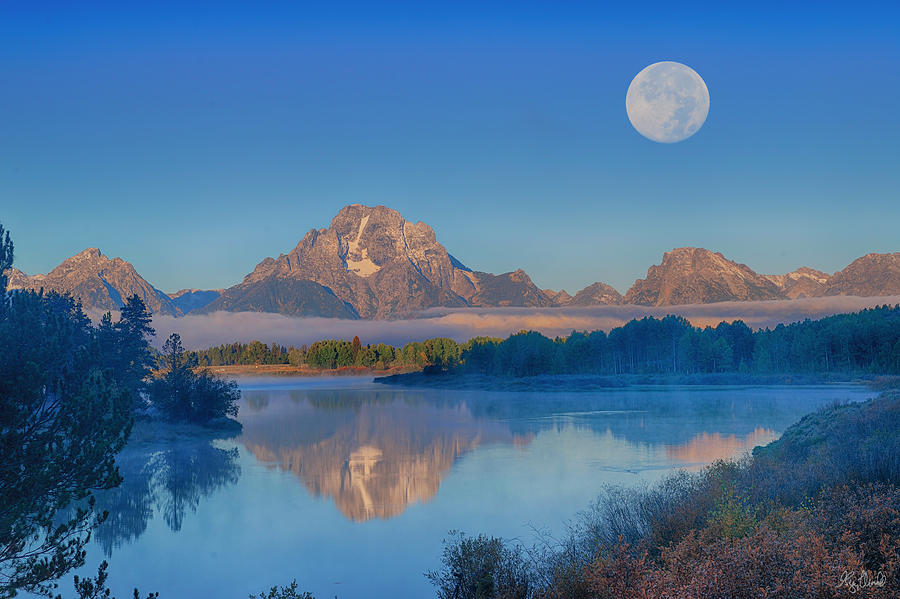 Full moon over Oxbow Bend in Grand Teton National Park