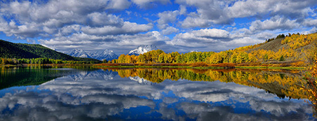 Oxbow Bend Peak Autumn Teton Panorama