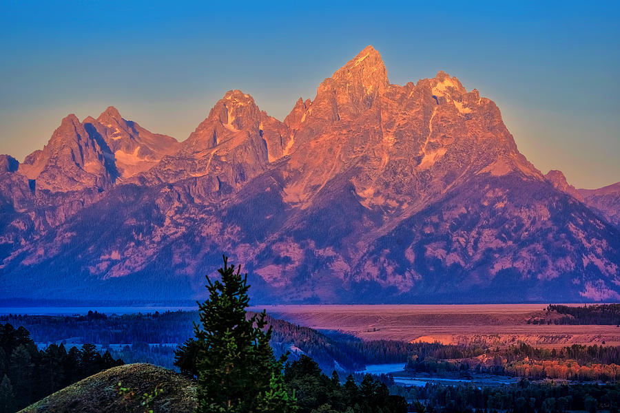 Teton peaks with alpenglow light fine art nature prints