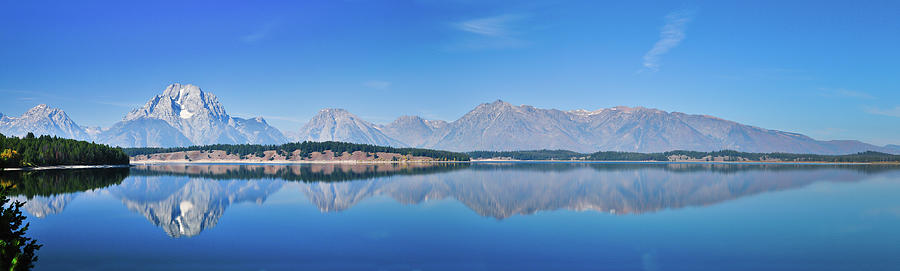 Teton Reflections Along Jackson Lake Panorama