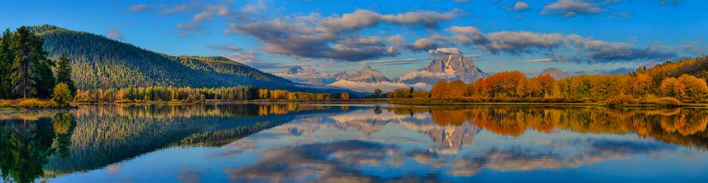 Teton Panoramic Reflections At Oxbow Bend
