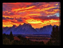 Fire in the Teton Sky Canvas Print
