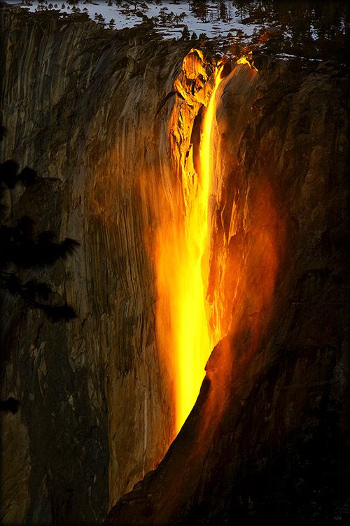 Horsetail Fall glowing at sunset